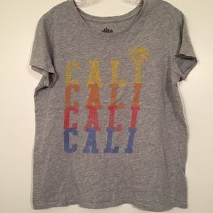 Old Navy Women Gray Cali Short Sleeve Tee Large